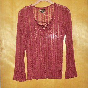 Guess Dark Red Embellished Lace Flowy Sleeves M Me